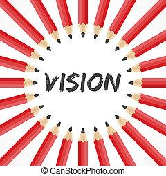 lápiz, palabra, visión, plano de fondo