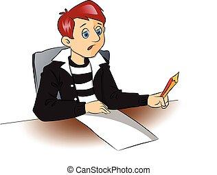 lápiz, paper., pensativo, vector, estudiante, blanco