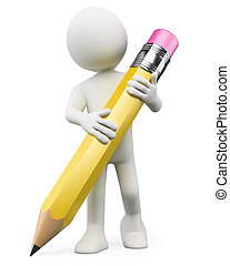 lápiz, personas., niño, blanco, 3d