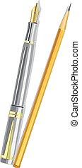 lápiz, pluma,  vector