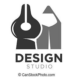 lápiz, punta, pluma, vector, estudio, plantilla, diseño,...
