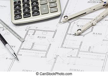 lápiz, regla, compás, y, calculadora, reclinación encendido, casa, planes