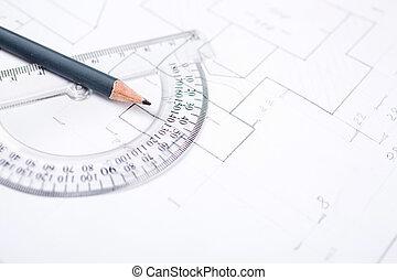 lápiz, transportador, proyectista, transparente, tabla
