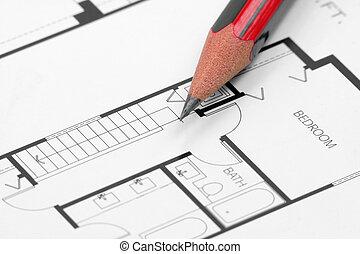lápiz, y, edificio, cianotipo