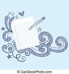 lápiz, y, papel, escuela, garabato, página