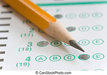 lápiz, y, prueba