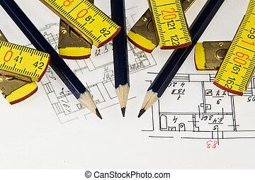lápiz, y, regla, en, arquitectónico, plan