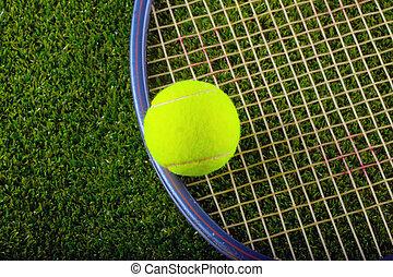 lárma, tenisz, felett, labda, fű