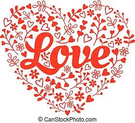 láska, červené šaty květovat, nitro, vektor