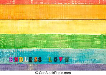 láska, bezkoncovkový, dřevěný, grafické pozadí, lgbt, nadpis, barvy, duha