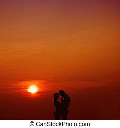 láska, do, ta, západ slunce