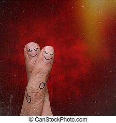 láska, dvojice, tvořivý, design, ohmatat, šťastný