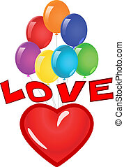 láska, heart., ilustrace