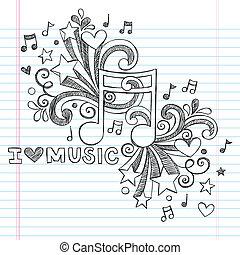 láska, hudba, sketchy, vektor, doodles