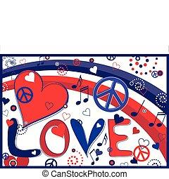 láska, mír, a, herce