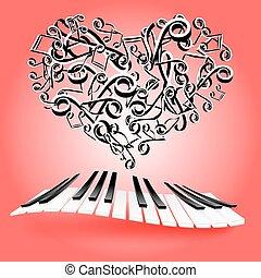 láska, svatý, láska, miláček, Hudba, herce, klavír, klˇźe, Karta