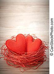 láska, znejmilejší, day., herce, ruční, dále, wood., dvojice, do, hnízdo