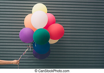 látex, conceito, festivo, multicolored, texto, wall., cinzento, lugar, hélio, balões, seu, enchido