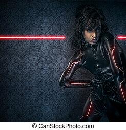 látex, morena, fantasía, armadura, ciencia, ficción, luces, escena, negro, disfraz, sexy, rojo