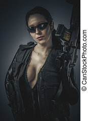 látex, mujer policía, disfraz, sensual