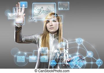 látex, tableta, concepto, joven, comunicaciones, digital, ...