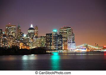 láthatár, új, város, york
