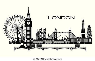 láthatár, 3, város, london, vektor
