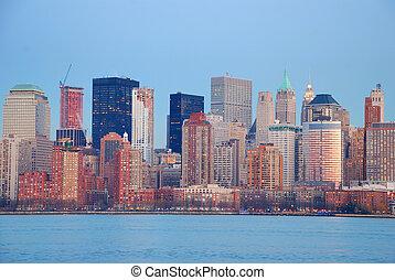 láthatár, panoráma, város, york, új