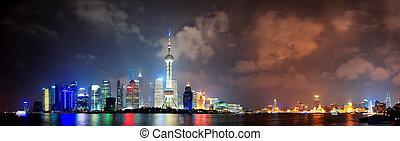 láthatár, shanghai, éjszaka
