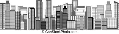 láthatár, város, seamless, háttér., vektor