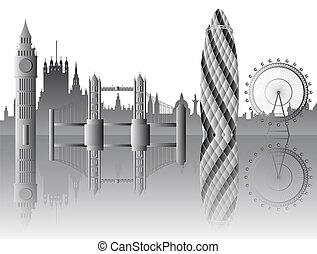láthatár, vektor, london