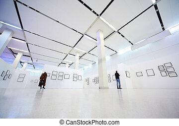 látogató, megvizsgál, mozi, alatt, show-room