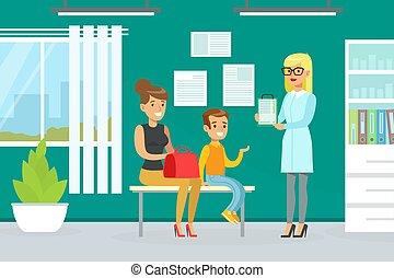 látogató, szolgáltatás, fogalom, fiú, gyermekorvos, kölyök, hivatal, anya, együtt, vizsga, vektor, kivizsgálás, orvos, nő, ábra orvosi