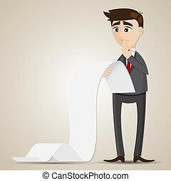 látszó, üzletember, dokumentum, karikatúra, hosszú