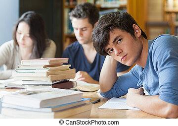 látszó, asztal, vonzalom, diák, fáradt