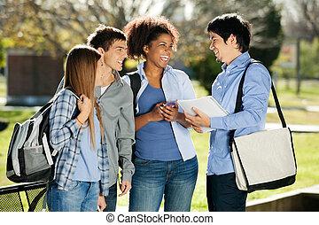 látszó, diákok, barát, egyetem területe, jókedvű