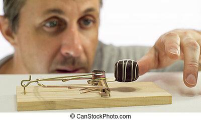 látszó, ember, csapda, csokoládé
