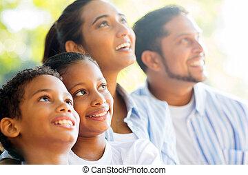 látszó, indiai, feláll, család, szabadban
