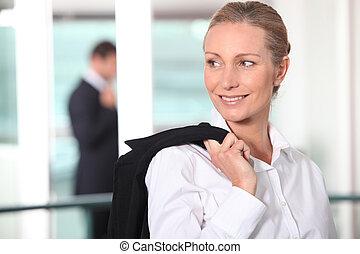 látszó, mosolyog woman, el, szőke