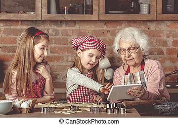 látszó, nagyanyó, recept, tabletta, lányunoka