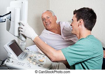 látszó, ultrasound gép, türelmes