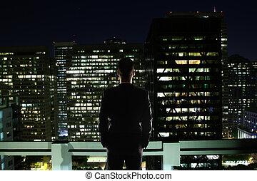 látszó, város, ember, éjszaka