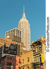 látványos, felülnézet, közül, új york város, -, manhattan épület