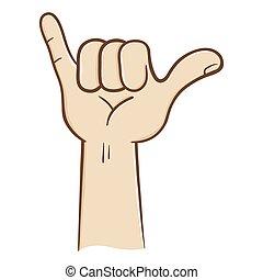 lâche, pendre, signe main
