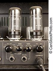 lâmpada, áudio, amplificador, sinal