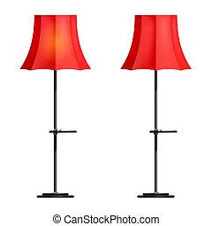 lâmpada, branco vermelho, fundo, chão