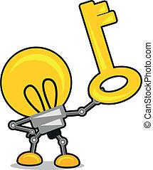 lâmpada, caricatura, ilustração