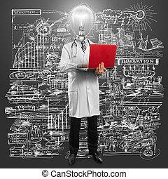 lâmpada, doutor principal, homem laptop