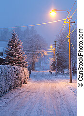 lâmpada, gelado, brilhante, inverno, noturna