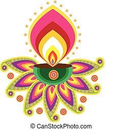 lâmpada, indianas, óleo